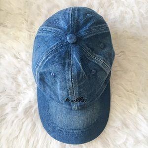 "Accessories - Blue Denim ""Hello"" Embroidered Baseball Cap"